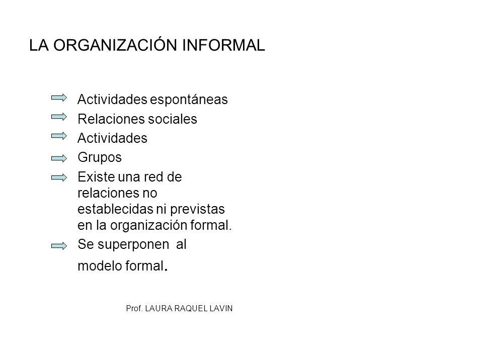 LA ORGANIZACIÓN INFORMAL Actividades espontáneas Relaciones sociales Actividades Grupos Existe una red de relaciones no establecidas ni previstas en l