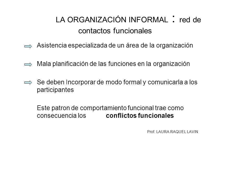 LA ORGANIZACIÓN INFORMAL : red de contactos funcionales Asistencia especializada de un área de la organización Mala planificación de las funciones en