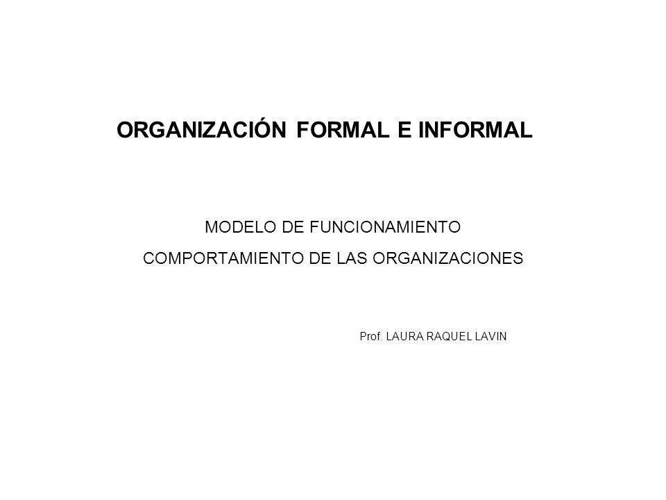 ORGANIZACIÓN FORMAL E INFORMAL MODELO DE FUNCIONAMIENTO COMPORTAMIENTO DE LAS ORGANIZACIONES Prof. LAURA RAQUEL LAVIN