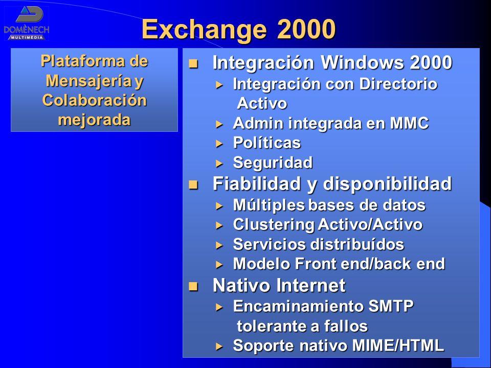 Exchange 2000 Integración Windows 2000 Integración Windows 2000 Integración con Directorio Activo Integración con Directorio Activo Admin integrada en