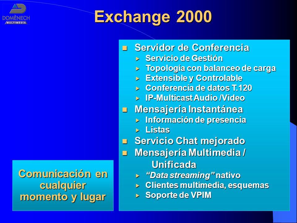 Exchange 2000 Servidor de Conferencia Servidor de Conferencia Servicio de Gestión Servicio de Gestión Topología con balanceo de carga Topología con ba