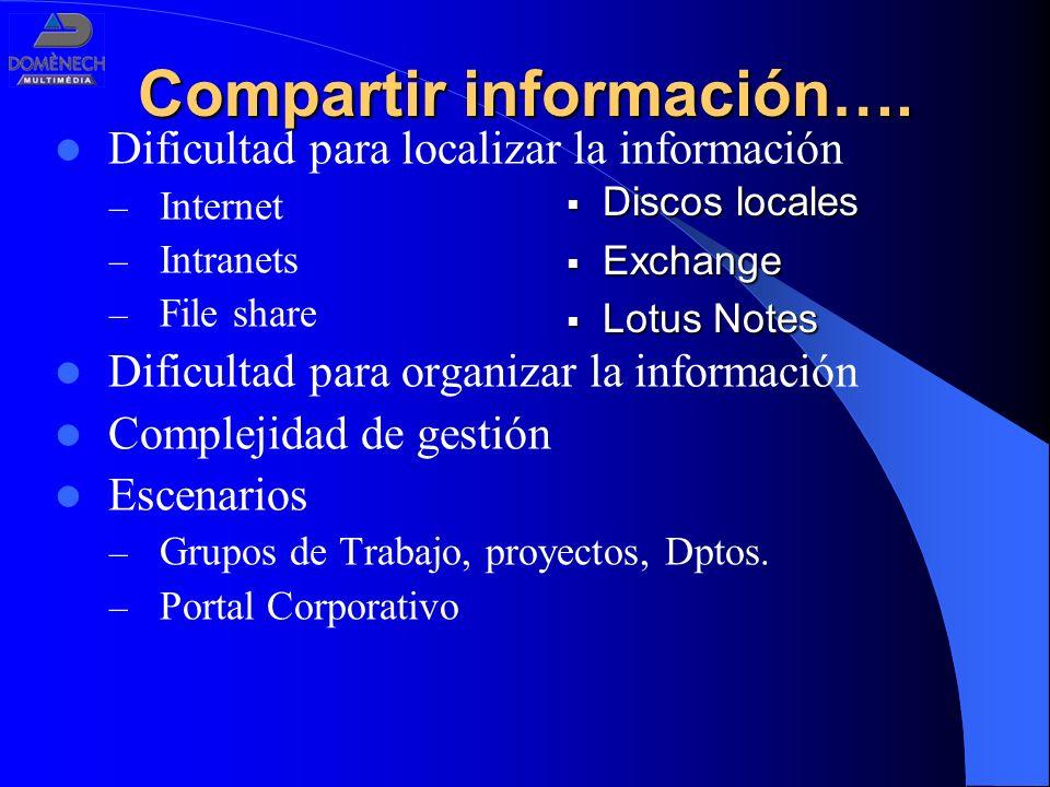 Compartir información…. Dificultad para localizar la información – Internet – Intranets – File share Dificultad para organizar la información Compleji