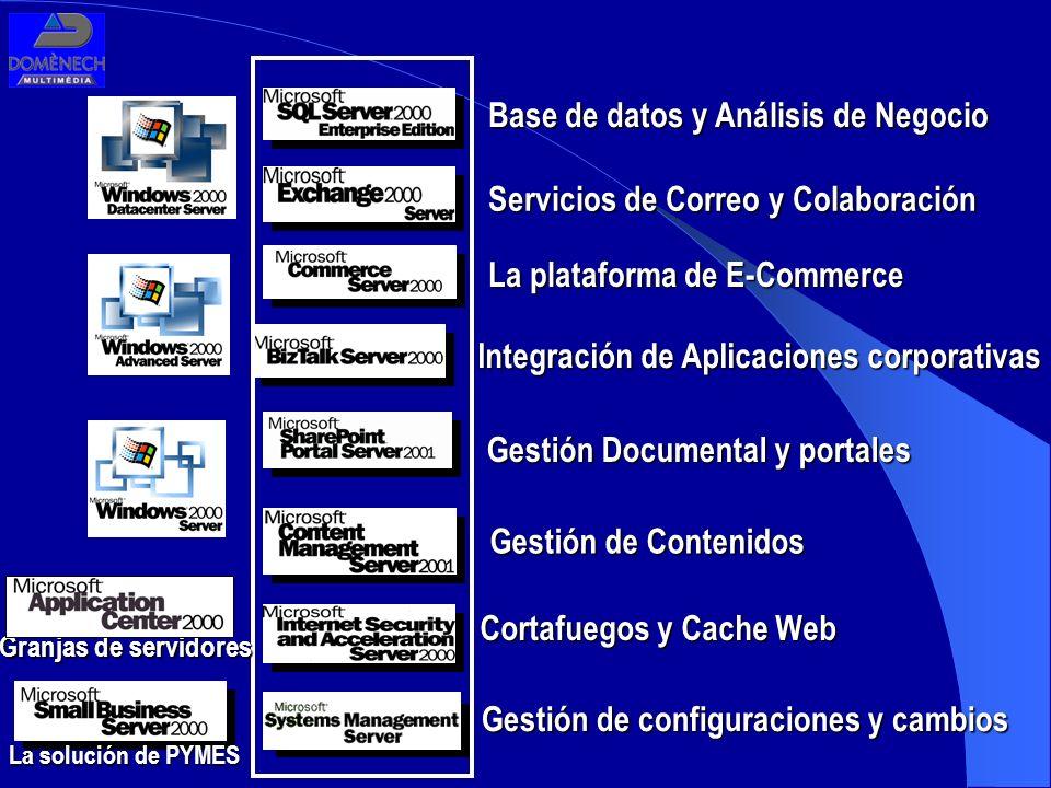 La plataforma de E-Commerce Integración de Aplicaciones corporativas Cortafuegos y Cache Web Servicios de Correo y Colaboración Base de datos y Anális