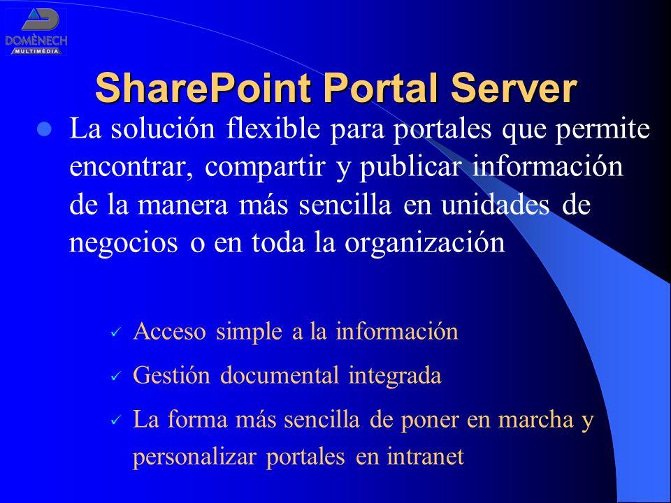 SharePoint Portal Server La solución flexible para portales que permite encontrar, compartir y publicar información de la manera más sencilla en unida