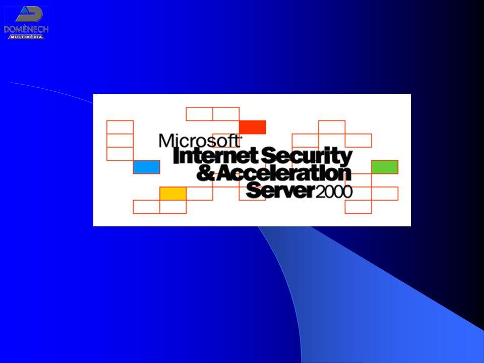 Microsoft ISA Server 2000 Conectividad con un cortafuegos escalable y multicapa Acceso rápido con un caché web escalable y de alto rendimiento Integración con Windows 2000 y soporte de perfiles de acceso a Internet (prioridades, restricciones, etc.) Conectividad Segura con Internet Acceso Web Rápido Gestión Unificada Plataforma extensible y abierta Plataforma extensible y abierta Posibilidades de personalización y programación de filtrado