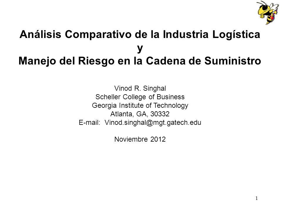 1 Análisis Comparativo de la Industria Logística y Manejo del Riesgo en la Cadena de Suministro Vinod R. Singhal Scheller College of Business Georgia
