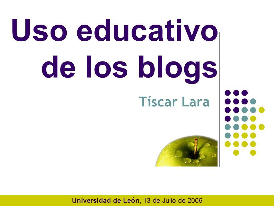 EDUBLOGS: definición Podríamos entender los edublogs como aquellos weblogs cuyo principal objetivo es apoyar un proceso de enseñanza- aprendizaje en un contexto educativo.
