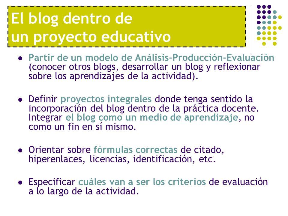 El blog dentro de un proyecto educativo Partir de un modelo de Análisis-Producción-Evaluación (conocer otros blogs, desarrollar un blog y reflexionar