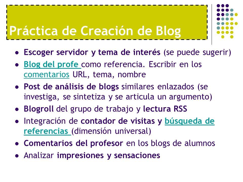 Práctica de Creación de Blog Escoger servidor y tema de interés (se puede sugerir) Blog del profe como referencia. Escribir en los comentarios URL, te