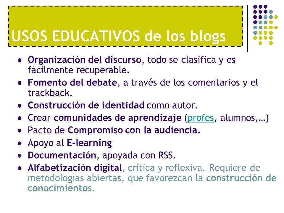 USOS EDUCATIVOS de los blogs Organización del discurso, todo se clasifica y es fácilmente recuperable. Fomento del debate, a través de los comentarios