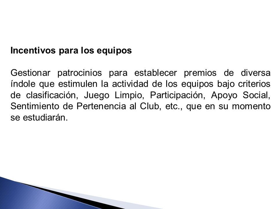 Incentivos para los equipos Gestionar patrocinios para establecer premios de diversa índole que estimulen la actividad de los equipos bajo criterios d
