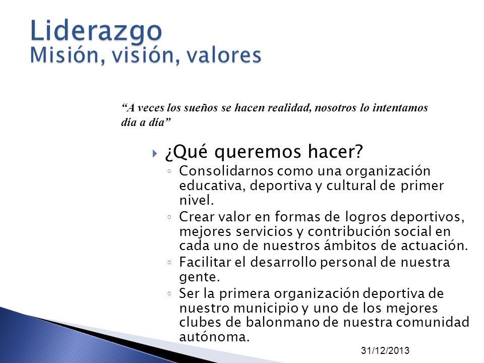 31/12/2013 ¿Qué queremos hacer? Consolidarnos como una organización educativa, deportiva y cultural de primer nivel. Crear valor en formas de logros d