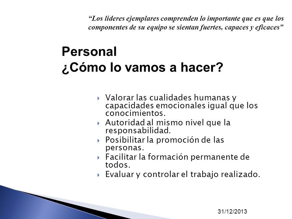 31/12/2013 Valorar las cualidades humanas y capacidades emocionales igual que los conocimientos. Autoridad al mismo nivel que la responsabilidad. Posi