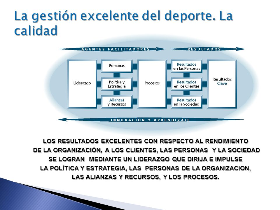 LOS RESULTADOS EXCELENTES CON RESPECTO AL RENDIMIENTO DE LA ORGANIZACIÓN, A LOS CLIENTES, LAS PERSONAS Y LA SOCIEDAD DE LA ORGANIZACIÓN, A LOS CLIENTE