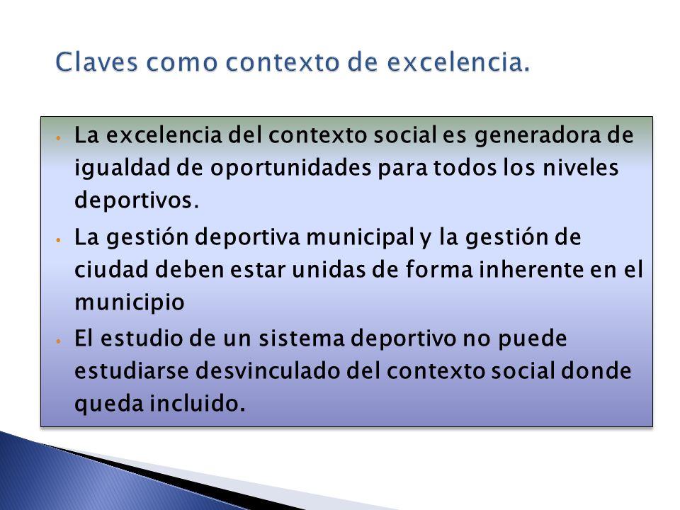 La excelencia del contexto social es generadora de igualdad de oportunidades para todos los niveles deportivos. La gestión deportiva municipal y la ge