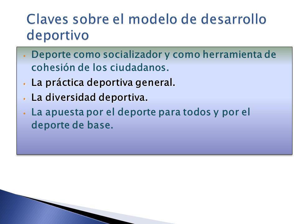 Deporte como socializador y como herramienta de cohesión de los ciudadanos. La práctica deportiva general. La práctica deportiva general. La diversida