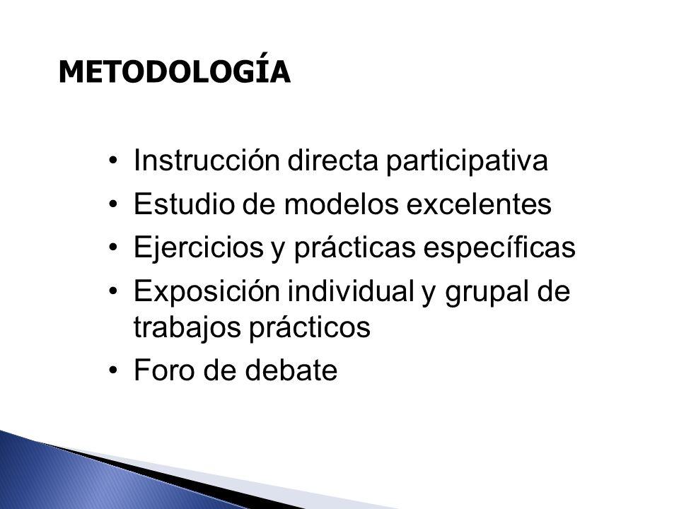 METODOLOGÍA Instrucción directa participativa Estudio de modelos excelentes Ejercicios y prácticas específicas Exposición individual y grupal de traba