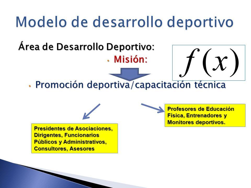 Área de Desarrollo Deportivo: Misión: Misión: Promoción deportiva/capacitación técnica Promoción deportiva/capacitación técnica Profesores de Educació