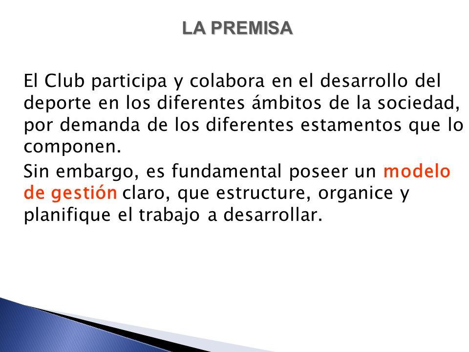 LA PREMISA El Club participa y colabora en el desarrollo del deporte en los diferentes ámbitos de la sociedad, por demanda de los diferentes estamento