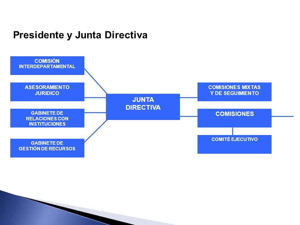 COMISIÓN INTERDEPARTAMENTAL ASESORAMIENTO JURIDICO GABINETE DE RELACIONES CON INSTITUCIONES GABINETE DE GESTIÓN DE RECURSOS JUNTA DIRECTIVA COMISIONES
