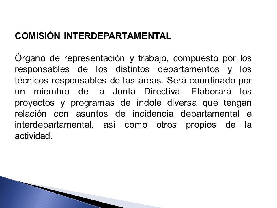 COMISIÓN INTERDEPARTAMENTAL Órgano de representación y trabajo, compuesto por los responsables de los distintos departamentos y los técnicos responsab
