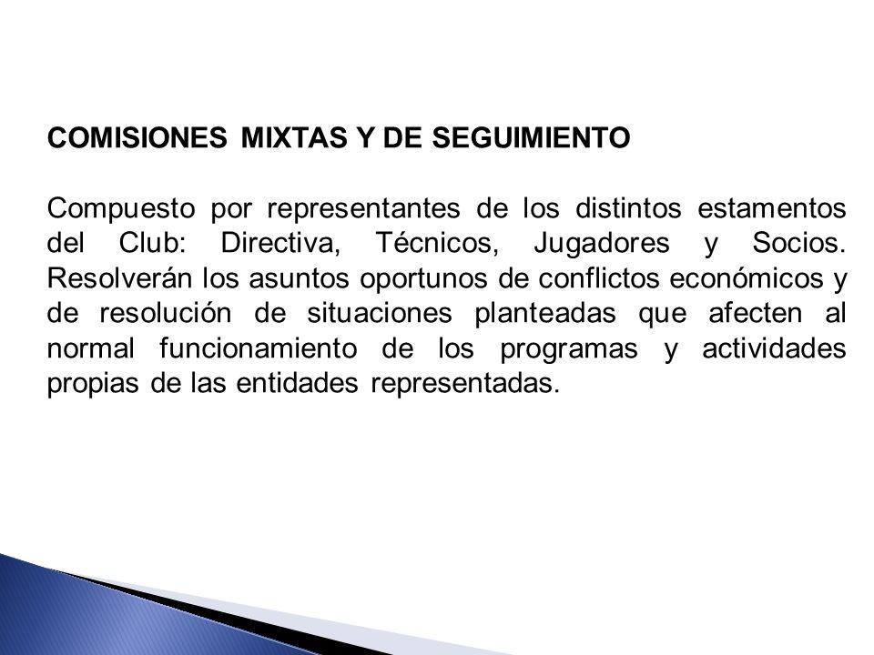COMISIONES MIXTAS Y DE SEGUIMIENTO Compuesto por representantes de los distintos estamentos del Club: Directiva, Técnicos, Jugadores y Socios. Resolve