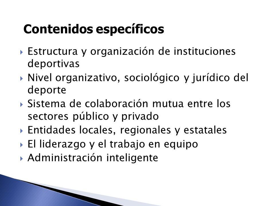 Contenidos específicos Estructura y organización de instituciones deportivas Nivel organizativo, sociológico y jurídico del deporte Sistema de colabor