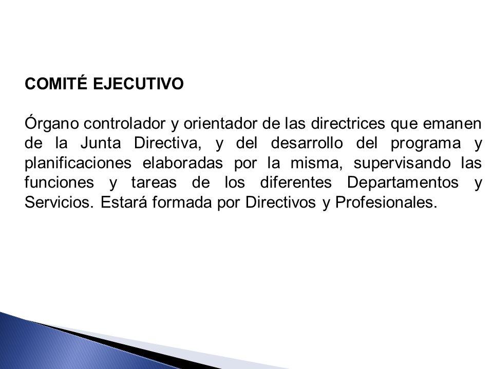 COMITÉ EJECUTIVO Órgano controlador y orientador de las directrices que emanen de la Junta Directiva, y del desarrollo del programa y planificaciones