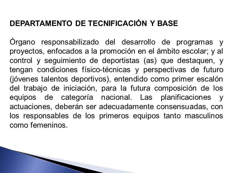 DEPARTAMENTO DE TECNIFICACIÓN Y BASE Órgano responsabilizado del desarrollo de programas y proyectos, enfocados a la promoción en el ámbito escolar; y