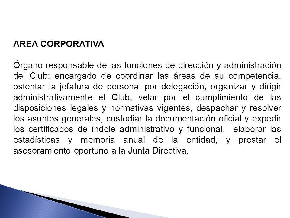 AREA CORPORATIVA Órgano responsable de las funciones de dirección y administración del Club; encargado de coordinar las áreas de su competencia, osten