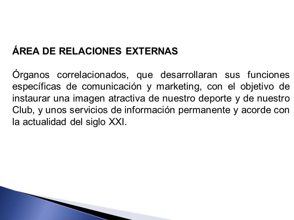 ÁREA DE RELACIONES EXTERNAS Órganos correlacionados, que desarrollaran sus funciones específicas de comunicación y marketing, con el objetivo de insta