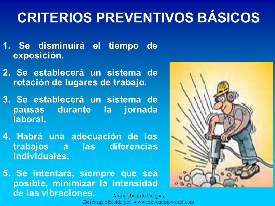 Autor: Ricardo Vasquez Descarga ofrecida por: www.prevention-world.com CRITERIOS PREVENTIVOS BÁSICOS 1. Se disminuirá el tiempo de exposición. 2. Se e