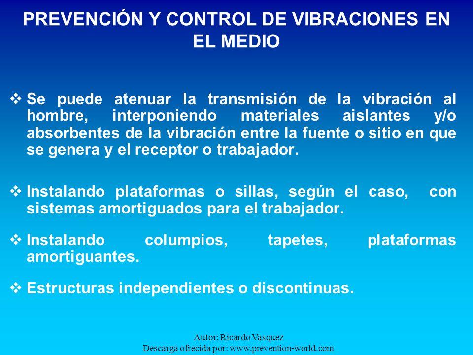 Autor: Ricardo Vasquez Descarga ofrecida por: www.prevention-world.com Se puede atenuar la transmisión de la vibración al hombre, interponiendo materi