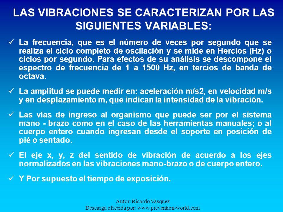 Autor: Ricardo Vasquez Descarga ofrecida por: www.prevention-world.com De acuerdo con la frecuencia de la vibración, pueden ocasionar los siguientes efectos: Muy Baja Frecuencia: Estimulación del laberinto del oído interno.