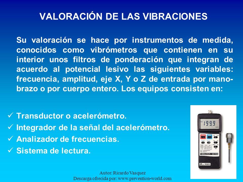 Autor: Ricardo Vasquez Descarga ofrecida por: www.prevention-world.com VALORACIÓN DE LAS VIBRACIONES Su valoración se hace por instrumentos de medida,
