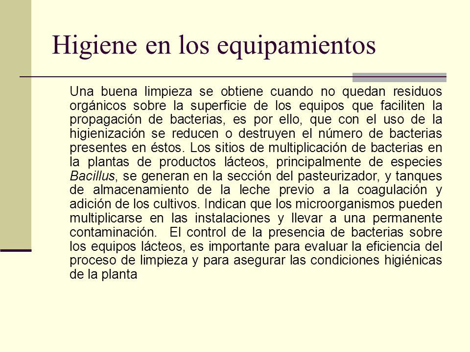 Higiene en los equipamientos Una buena limpieza se obtiene cuando no quedan residuos orgánicos sobre la superficie de los equipos que faciliten la pro