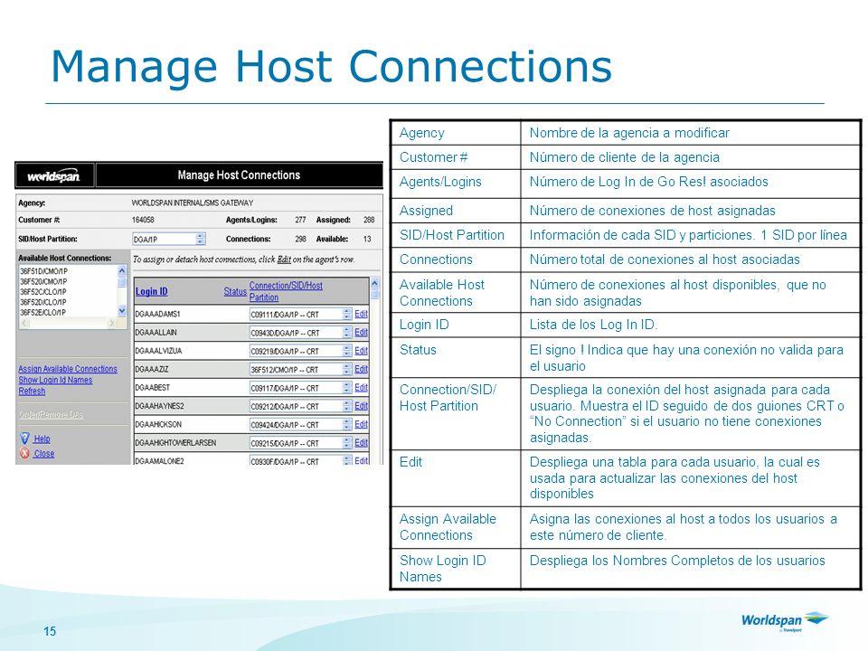 15 Manage Host Connections AgencyNombre de la agencia a modificar Customer #Número de cliente de la agencia Agents/LoginsNúmero de Log In de Go Res! a