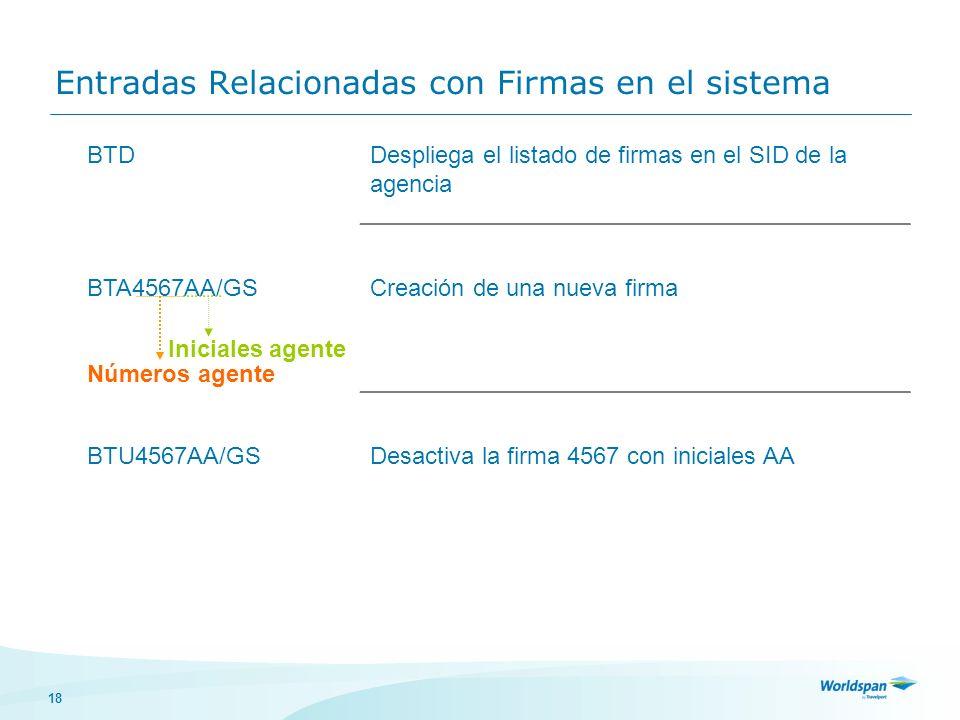 18 Entradas Relacionadas con Firmas en el sistema BTDDespliega el listado de firmas en el SID de la agencia BTA4567AA/GS Números agente Creación de un