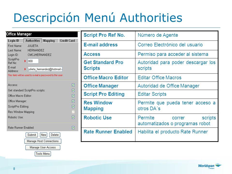 8 Descripción Menú Authorities Script Pro Ref No.Número de Agente E-mail addressCorreo Electrónico del usuario AccessPermiso para acceder al sistema G