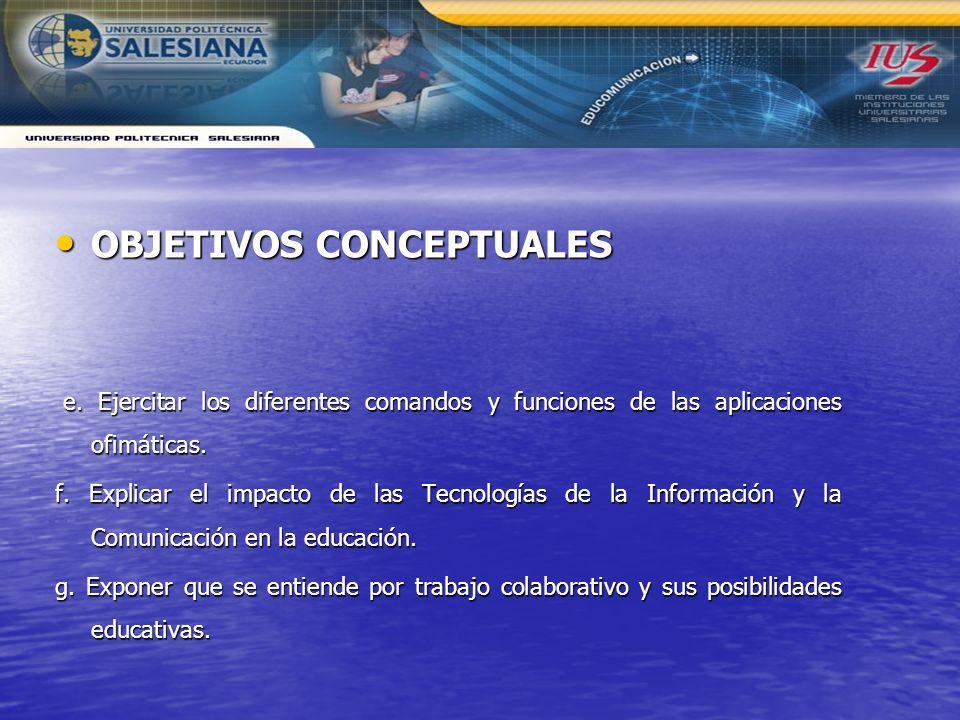 OBJETIVOS CONCEPTUALES OBJETIVOS CONCEPTUALES e. Ejercitar los diferentes comandos y funciones de las aplicaciones ofimáticas. e. Ejercitar los difere