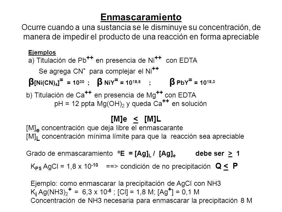 Enmascaramiento Ocurre cuando a una sustancia se le disminuye su concentración, de manera de impedir el producto de una reacción en forma apreciable E