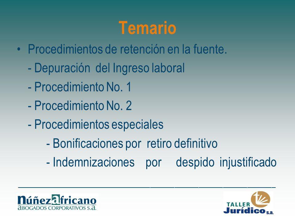 Temario Procedimientos de retención en la fuente. - Depuración del Ingreso laboral - Procedimiento No. 1 - Procedimiento No. 2 - Procedimientos especi