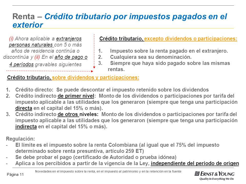 Novedades en el impuesto sobre la renta, en el impuesto al patrimonio y en la retención en la fuente Página 10 Renta - Deducciones Deducción Especial