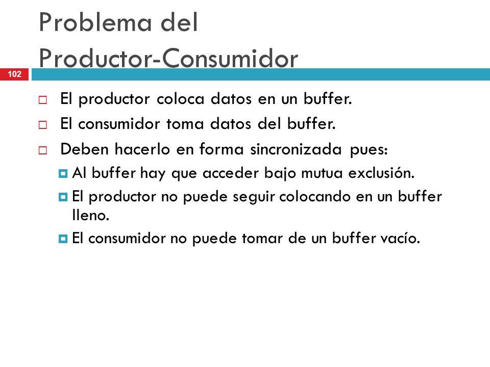 102 Problema del Productor-Consumidor El productor coloca datos en un buffer. El consumidor toma datos del buffer. Deben hacerlo en forma sincronizada
