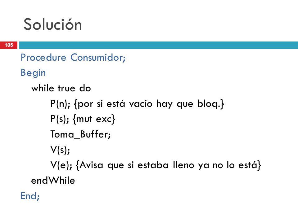 105 Solución Procedure Consumidor; Begin while true do P(n); {por si está vacío hay que bloq.} P(s); {mut exc} Toma_Buffer; V(s); V(e); {Avisa que si