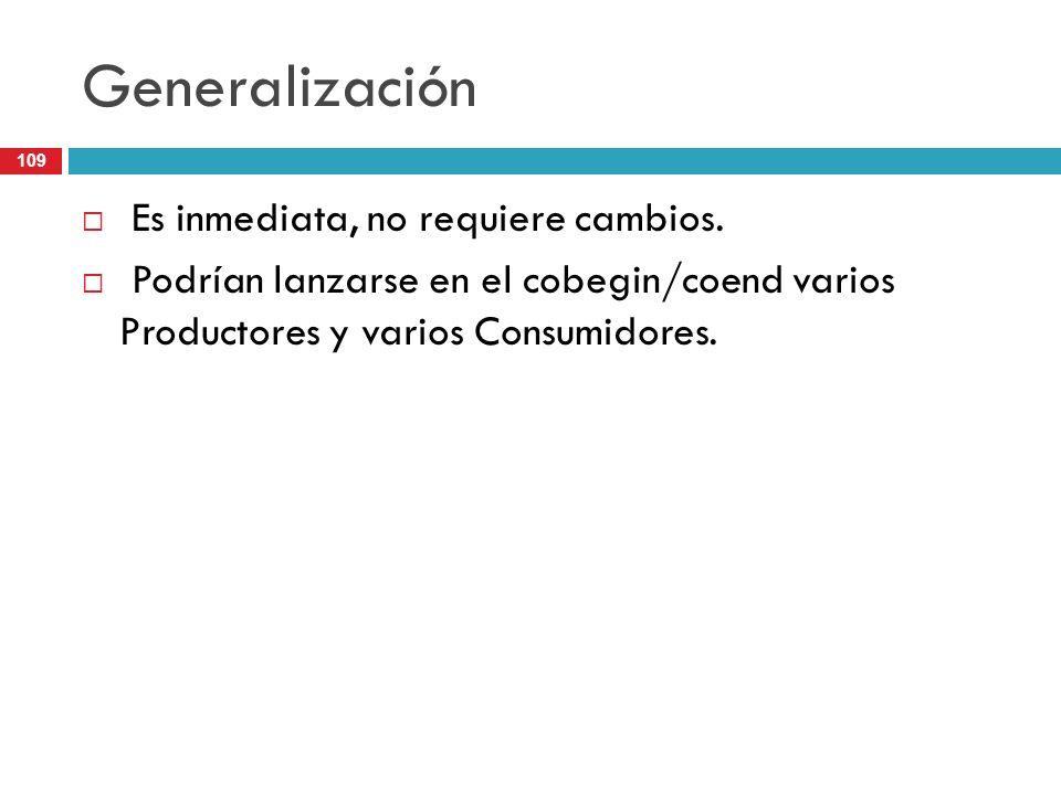 109 Generalización Es inmediata, no requiere cambios. Podrían lanzarse en el cobegin/coend varios Productores y varios Consumidores.