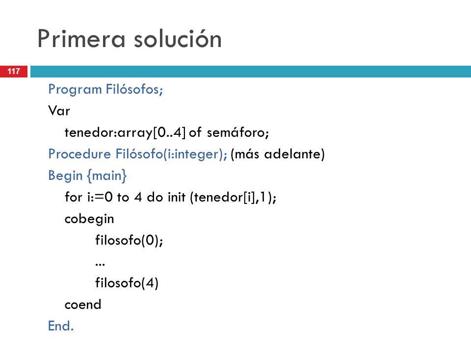 117 Primera solución Program Filósofos; Var tenedor:array[0..4] of semáforo; Procedure Filósofo(i:integer); (más adelante) Begin {main} for i:=0 to 4