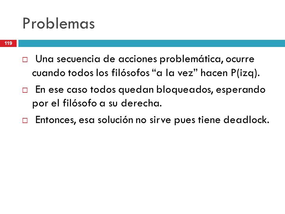 119 Problemas Una secuencia de acciones problemática, ocurre cuando todos los filósofos a la vez hacen P(izq). En ese caso todos quedan bloqueados, es