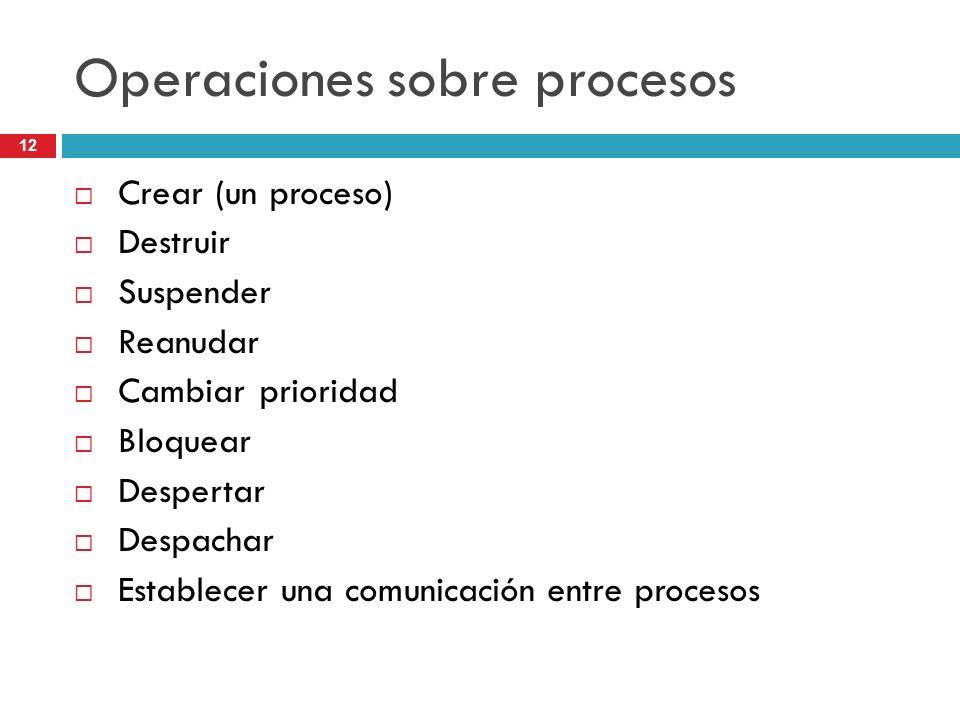 12 Operaciones sobre procesos Crear (un proceso) Destruir Suspender Reanudar Cambiar prioridad Bloquear Despertar Despachar Establecer una comunicació