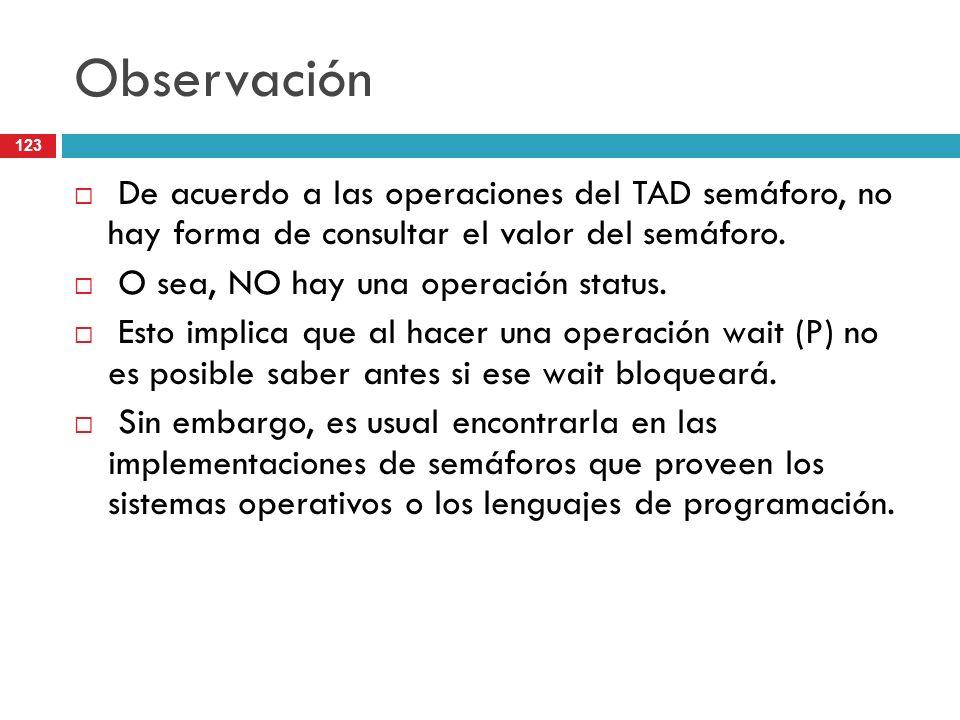 123 Observación De acuerdo a las operaciones del TAD semáforo, no hay forma de consultar el valor del semáforo. O sea, NO hay una operación status. Es